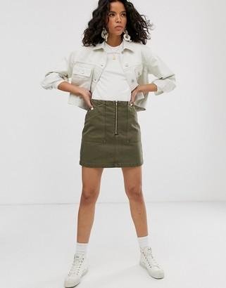 Weekday zip front mini denim skirt with oversized pockets in khaki