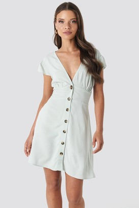 NA-KD Button Up Mini Dress Beige