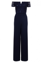 Quiz Navy Sequin Lace Bardot Jumpsuit