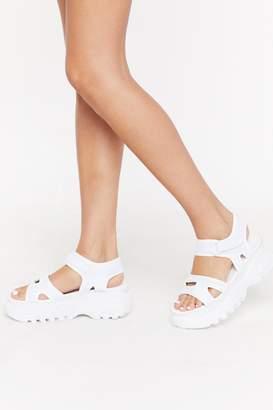 Nasty Gal Womens Walk The Walk Velcro Cleated Sandals - White - 5