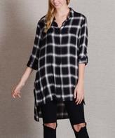 Paparazzi Black & Gray Plaid Side-Slit Button-Up Tunic
