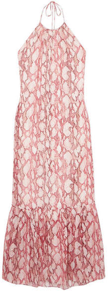 Rachel Zoe Harriet Snake-print Silk-chiffon Dress - Red