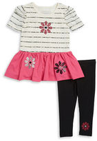 Flapdoodles Girls 2-6x Flower Tunic and Leggings Set
