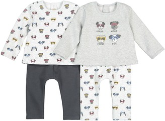 La Redoute Collections Pack of 2 Cotton Mix Pyjamas with Dog Print, 1 Month-4 Years