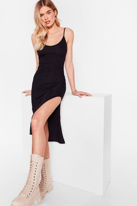 Nasty Gal Womens I Know the Scoop Ribbed Midi Dress - Black - 6