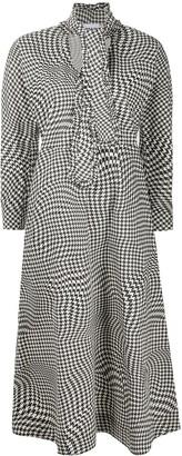 Ganni Houndstooth-Print Mid-Length Dress