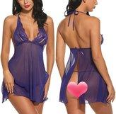 Avidlove Women Sexy Lingerie Halter Babydoll Open Back Chemises Transparent Lace Sleepwear