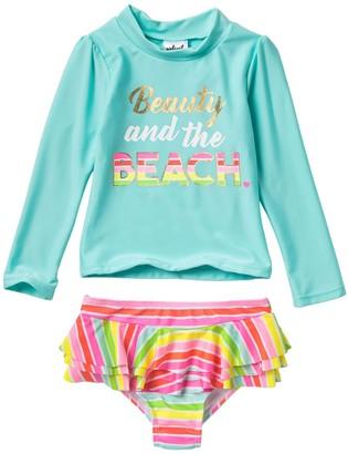 Beauty & The Beach Wetsuit Club Rash Guard Set (Toddler Girls)