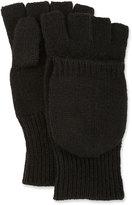 Neiman Marcus Convertible Fingerless Mitten-Style Gloves, Black