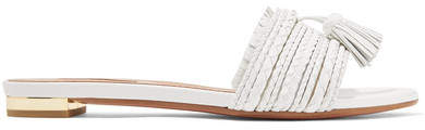 Aquazzura Sauvage Tasseled Woven Leather Sandals - White