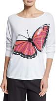 Joan Vass Long-Sleeve Sequined Butterfly Sweater, Petite