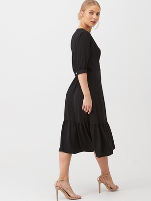 Very Sofia Wrap Frill Hem Midi Dress - Black