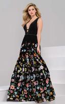 Jovani 48091 Deep V-Neck Floral Print Detail Evening Gown