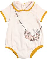 Little Marc Jacobs Mermaid Cat Print Cotton Jersey Bodysuit