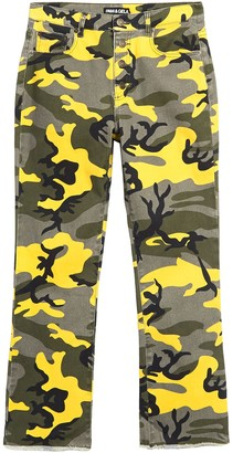 Pam And Gela Camo Print Button Fly Cropped Kick Flare Jeans