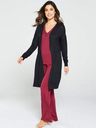 Very Tie Waist Cardi Robe - Black