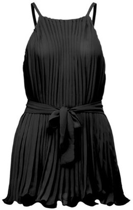 Goodnight Macaroon 'Bubu' Halter-neck Pleated Belted Swing Top (3 Colors)