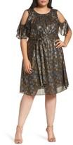 MICHAEL Michael Kors Plus Size Women's Cold Shoulder Metallic Star A-Line Dress