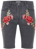 Topman Gray Rose Embroidery Denim Shorts