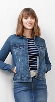 Esprit Denim jacket w worn effects and stretch