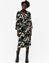 Thumbnail for your product : Monki Andie recycled abstract print midi shirt dress in multi