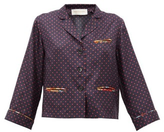 La Prestic Ouiston Marine Polka-dot Silk-twill Blouse - Navy Multi