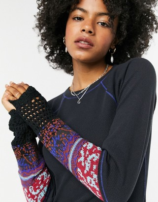 Free People In The Mix cuff detail jersey top in black