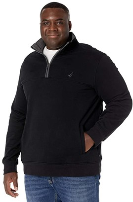 Nautica Big Tall 1/4 Zip Fleece (True Black) Men's Clothing
