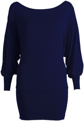 Fashion 4 Less New Womens Long Sleeve Off/On Shoulder One Shoulder Plain Jersey Batwing Top - Navy - Small/Medium - UK(8-10)