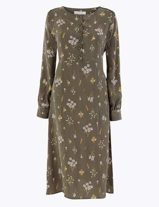 Marks and Spencer Cupro Ditsy Relaxed Midi Dress