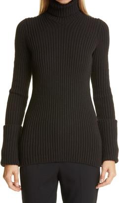 Bottega Veneta Back Cutout Rib Turtleneck Sweater