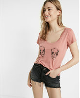 Express one eleven double skull hi-lo tee