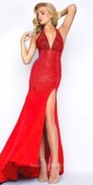 Mac Duggal Shimmering Beaded Jersey High Slit Prom Dress
