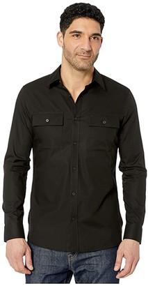 Calvin Klein Long Sleeve Solid Twill Pocket Shirt (Black) Men's Clothing