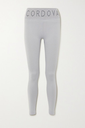 Cordova Signature Ribbed Intarsia Stretch-knit Leggings - Light blue