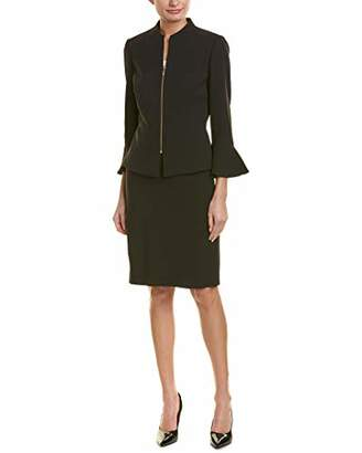 Tahari ASL Women's Skirt Suit with Collarless Jacket