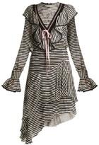 Preen by Thornton Bregazzi Corin Ruffle-trimmed Striped Silk-devore Dress - Womens - Black Stripe