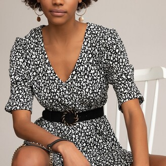 La Redoute Collections Animal Print Shift Dress with Puff Sleeves and V-Neck