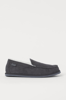 H&M Faux Shearling-lined Slippers - Gray