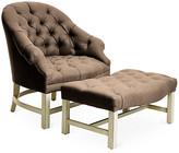 Bunny Williams Home Tufted Chair & Ottoman Set - Alpine/Brown