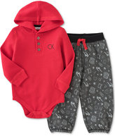 Calvin Klein Baby Girls' 2-Pc. Hooded Bodysuit & Mixed-Print Pants Set