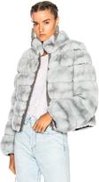 Yves Salomon Rex Fur Jacket in Blue.