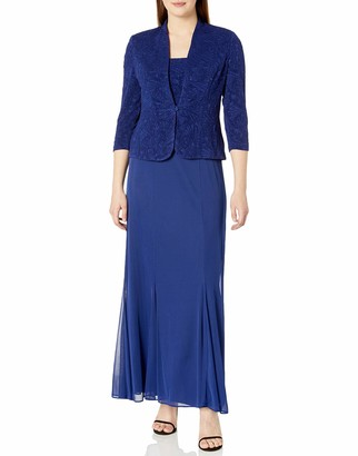 Alex Evenings Women's Long Jacket Dress with Chiffon Skirt Single