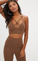 PrettyLittleThing Navy Strappy Front Crop Top