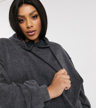 ASOS DESIGN Curve oversized boyfriend hoodie in washed black
