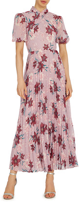 ML Monique Lhuillier Floral-Printed Puff-Sleeve Pleated Midi Dress