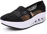 DADAWEN Women's Crochet Classic Slip-on Toning Shoe Walking Sneaker-White 7 US