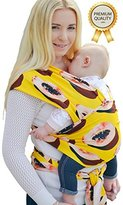 Nüzzle Baby Wrap Carrier | 100% Organic Cotton/Spandex | Soft & Comfortable Sling For Newborns Infants and Toddlers | Designer Prints and Colourful Patterns | Easy Instruction Booklet Included!