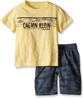 Calvin Klein Little Boys' 2 Piece Set- Crew Neck Tee Shirt with Printed Short