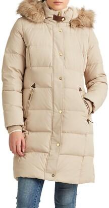 Lauren Ralph Lauren Faux Fur Trim Down Puffer Coat